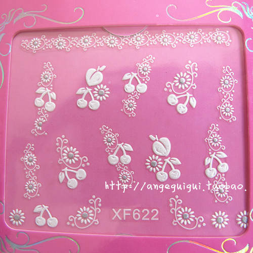 Nail sticker supplier sell With the detail paper card package XF 3D cute nail decals(China (Mainland))