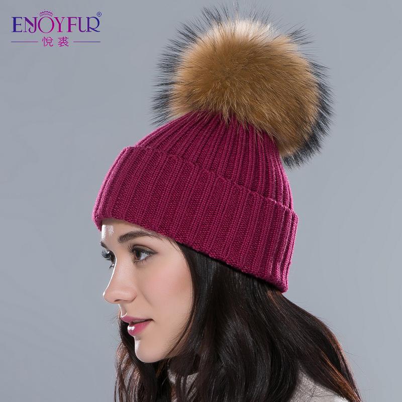 ENJOYFUR Women hat with raccoon silver fur pom poms hats unisex multicolors flexible outdoor snow caps Autumn Winter fashion hat(China (Mainland))