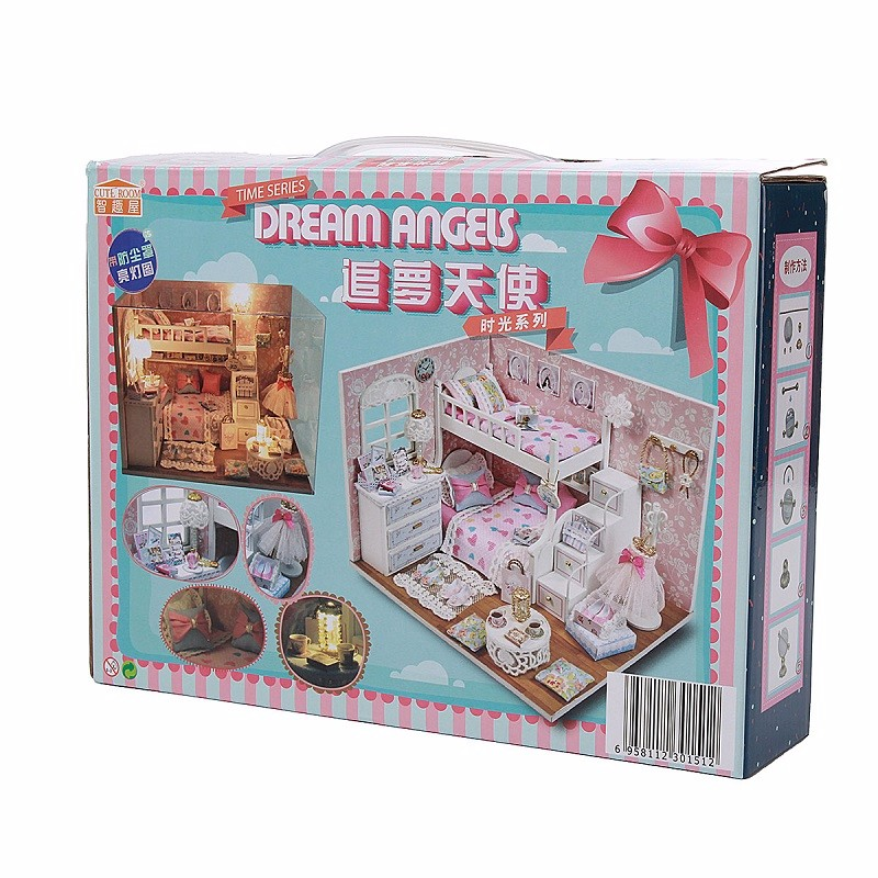 New Arrival Cuteroom DIY Wooden Dollhouse Equipment Miniature With Furnishings Doll Home Room Angel Dream Greatest Birthday Present For Women
