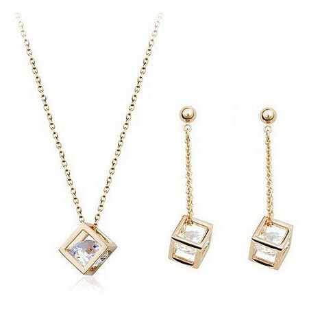 Austrian Crystal Square Cubic Sets Pendant Necklaces & Dangling Earrings Fashion Jewelry Set Women - Bellast Shop store