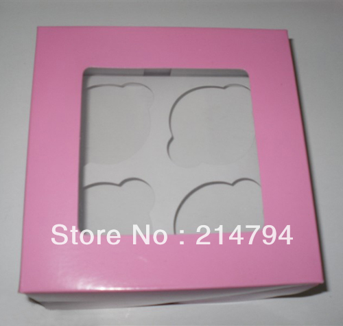 20pcs Plain Pink Muffin Packaging Box Holds 4 Cupcake with Insert 16*16*7cm Cake Container Baby Shower Decoration Free Shipping(China (Mainland))