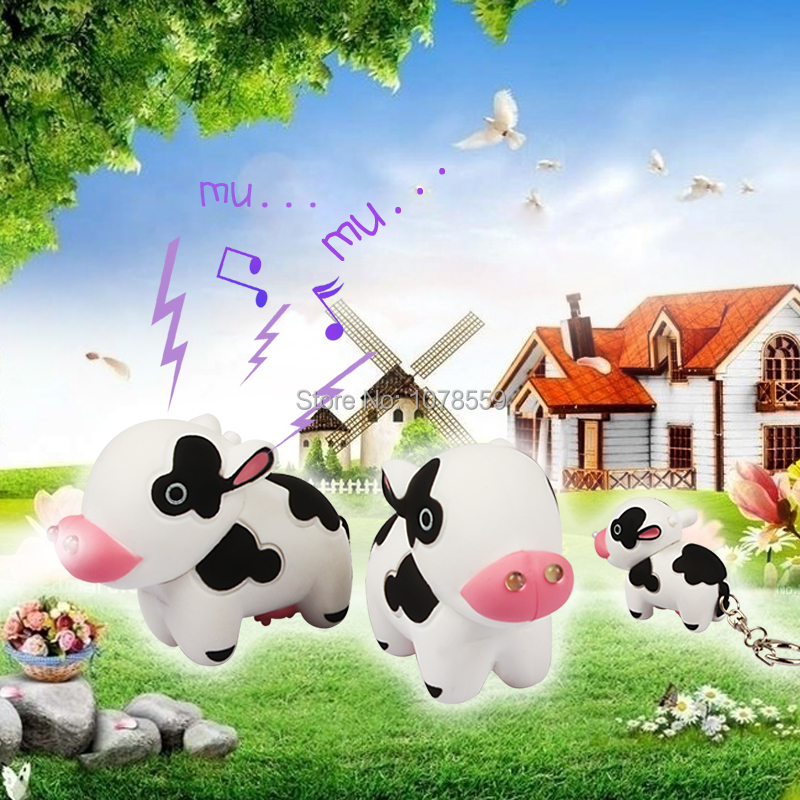 Cow voiced LED flashlight key chain car lovers gift phone bag pendant ornaments Creative toys Novelty Lighting free shpping(China (Mainland))