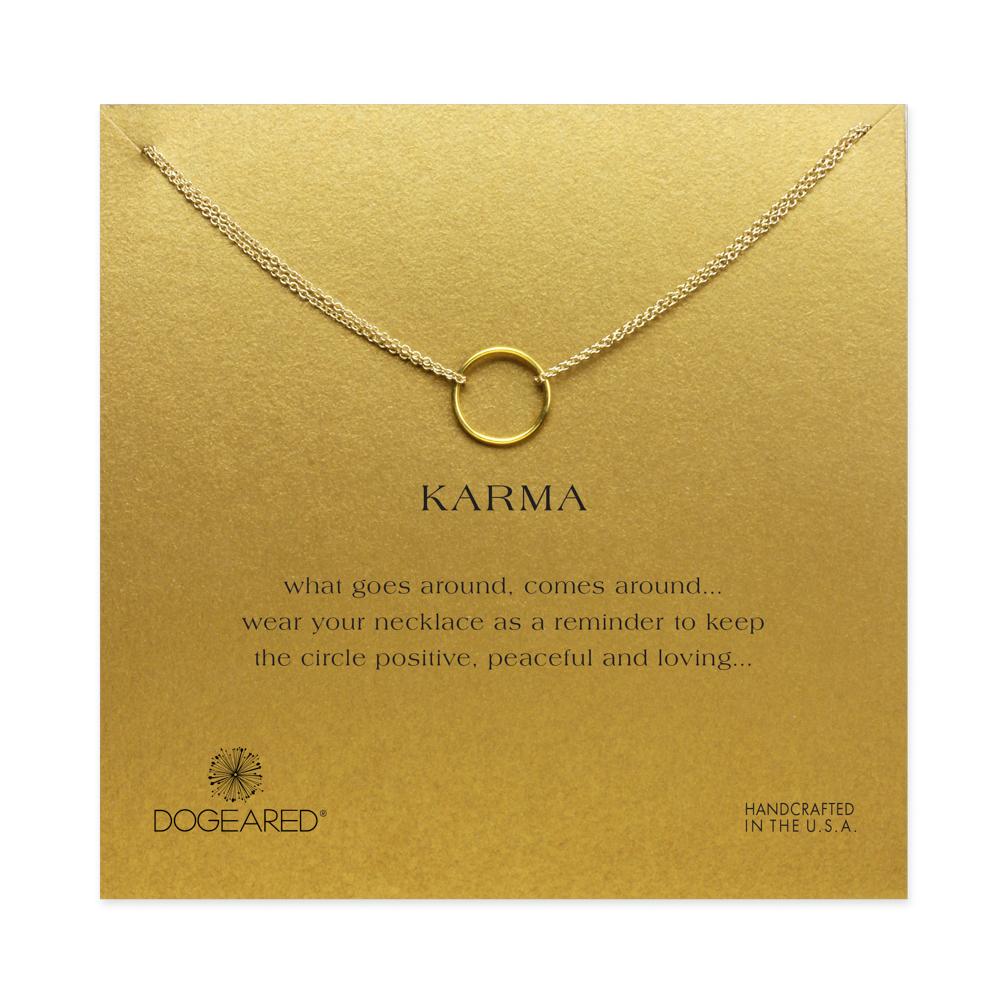 Hot Sale karma Double chain Circle necklace plated 14k gold Pendant necklaces short Fashion Statement Necklace