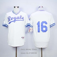 #16 Bo Jackson Jersey White Blue Cream Stitched B.Jackson Throwback Jerseys Fast Shipping(China (Mainland))