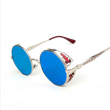 Gothic Steampunk round sunglasses Vintage Sunglass 2016 women brand designer metal Mirror carving sun glasses men oculos de sol - Colorful Feather store