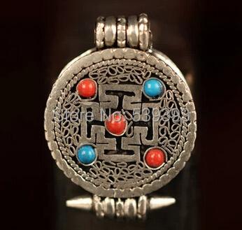 IB1904 Tibetan Silver Cross Dorje Amulets Prayer Box,22mm,Nepal buddhist arts,GAU pendants 5Pcs/lot free shipping(China (Mainland))