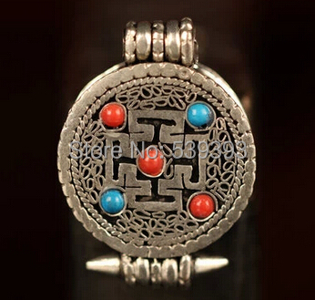 IB1904 Tibetan Silver Cross Dorje Amulets Prayer Box,22mm,Nepal buddhist arts,GAU pendants 5Pcs/lot free shipping(China (Mainland))