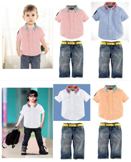 2014 Brand Name Children's wear baby boys polo shirt + Jeans suit kids casual polo short sleeve t shirt with trousers sport wear(China (Mainland))