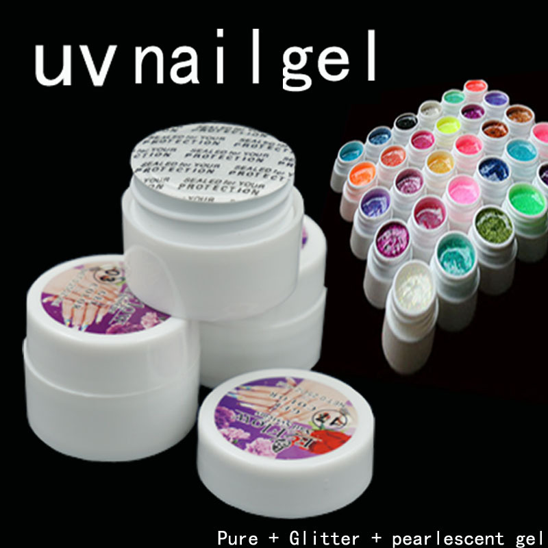 90 Mix color uv nail gel , Pure + Glitter + pearlescent nacre colors set gel kit tools(China (Mainland))