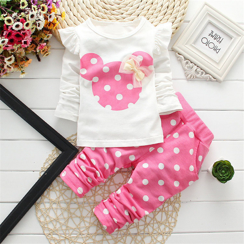 Kids Minnie Mickey Hello kitty Printed Clothing Girl Baby Sets Long Sleeve Cotton Toddler Clothes Set Children Suit T-Shirt+Pant(China (Mainland))