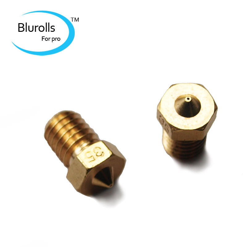 3d printer accessory parts diy brass e3d v6 nozzle 0 35mm1 75mm filament e3d v6 hotend