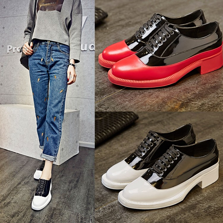 High Quality PU Stitching Patent Leather Spell Color Round Toe Crossed Lace-up Low Heels Women Single Shoes Spring New Footwear<br><br>Aliexpress