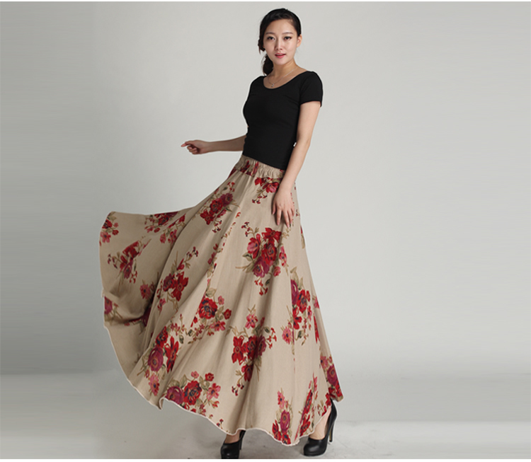 Simple 2014womenssummerchiffonlongskirt8metersbeachskirtflower