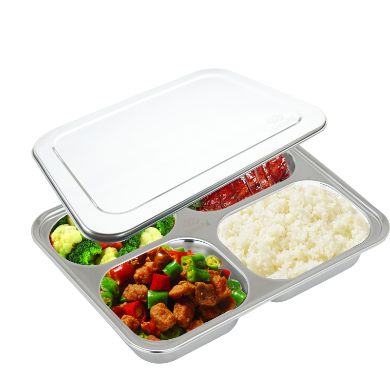 buy 4 compartment food container with lid divided plate bento box lunch tray. Black Bedroom Furniture Sets. Home Design Ideas