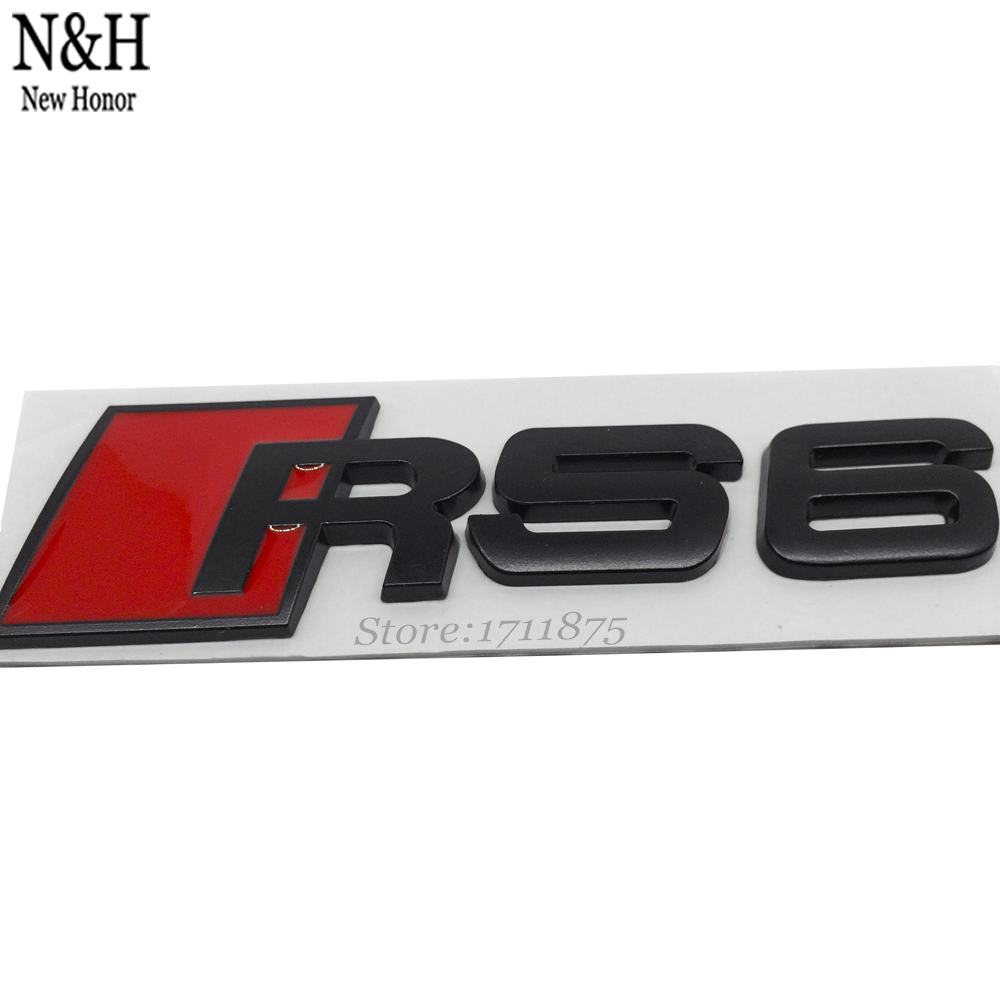 Metal Car Emblem For RS6 RS 6 Rear Tail Badge Sticker Logo Auto Badge For Audi RS6 Avant Saloon sedan Quattro A6 S6 Car Styling(China (Mainland))