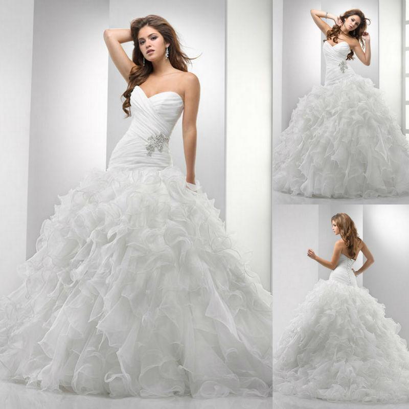 Sweetheart princess ball gown floor length horsehair for Drop waist ball gown wedding dress