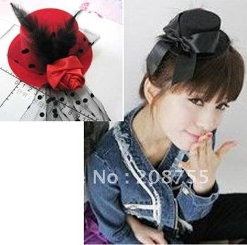 {Christmas gift} NEW mini TOP hat fascinator RED flower n VEIL hair CLIP cute FASHION Fabric Wool