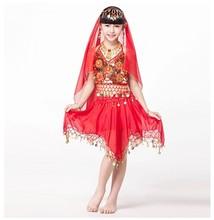 パフォーマンスボリウッド 4 点セットコインかぶと、トップ、子供のためのゴールドブレスレット子供インド衣装(China)