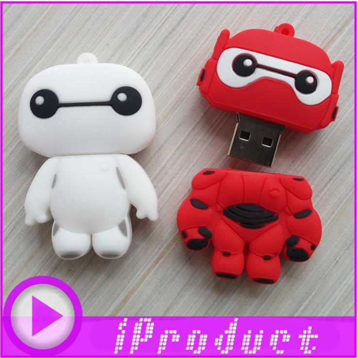 USB Baymax USB cartoon white red robot flash drive transform cute lovely bear memory stick big hero 6 character u disk 128MB-32G(China (Mainland))