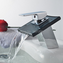 Buy Free Glass Spout Bathroom Waterfall wash Basin sink Faucet Chromed finish Brass Mixer Tap waterfall tap HJ-2256 for $44.65 in AliExpress store