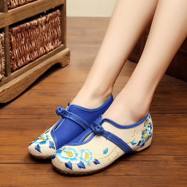 Buy Women Chinese Embroidered Flower Flat Shoes Ladies Mary Janes Cotton Ballet Loafers At
