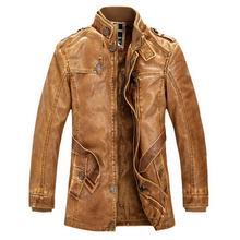 Leather Jacket men Slim Warm mens washed Leather Motorcycle Biker Jackets Standing Collar Coat Plus size XXXL outdoor parka()