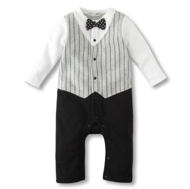 Комбинезоны новорожденных детские комбинезоны британский стиль бант вертикальный в полоску один штук мальчики-младенцы одежда