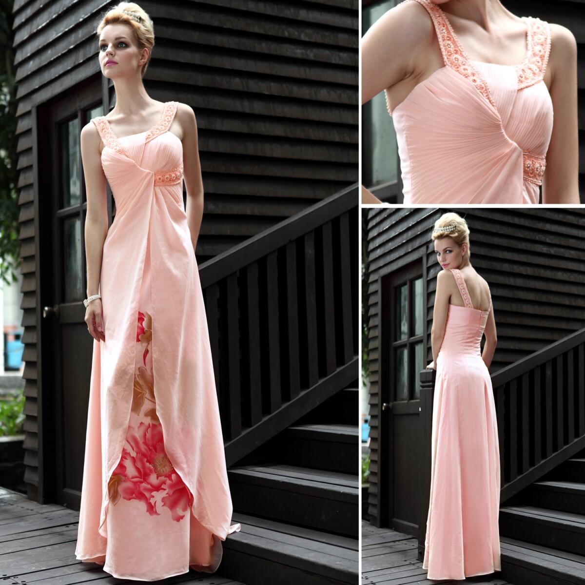 Performance star formal dress pink print evening dress t formal dress bride evening dress 30558(China (Mainland))