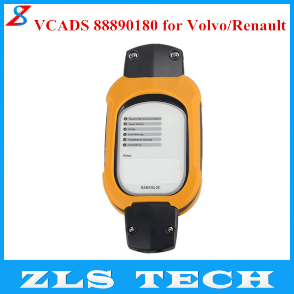 VCADS 88890180 (88890020 + Yellow Protection) Truck Diagnostic Interface for Volvo/Renault Support Multi-languages Free Shipping(China (Mainland))