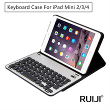 For iPad Mini 2 3 4 Bluetooth Keyboard Leather Case Metal Smart Keyboard Cover Wireless Mini 4 Luxury Case for iPad mini2(China (Mainland))