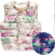 2016 Fashion Autumn Spring Children's Winter Jackets Kids Girls Vest Sweet Floral Down Cotton Warm Waistcoat Children Clothing
