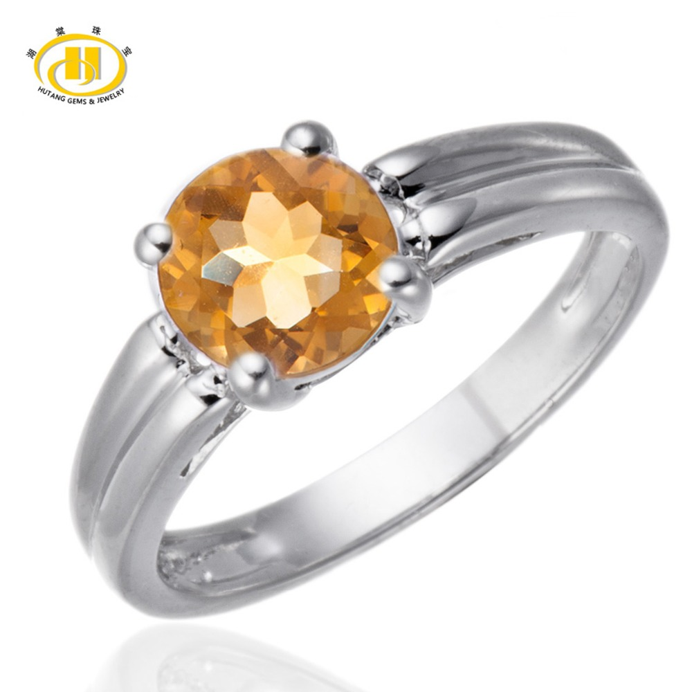 100% Natural Citrine 6mm Gemstone Ring Genuine Pure 925 Sterling Silver Simple Fine Jewelry November Birthstone(China (Mainland))