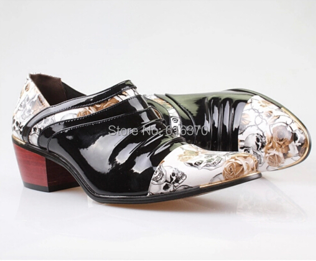 2014 New Men's Elevator Shoes,Patent Leather Punk Skull Printed Slip-On High Heel Wedding Party Dating Dance Shoes,US Size 6-9.5