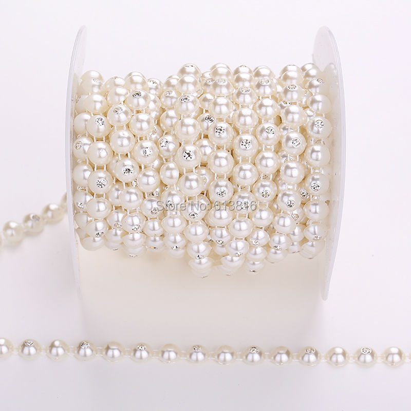 1Yard Ivory Half Pearl Clear Crystal Rhinestone Cup Chain Banding Bridal Applique Chain For Wedding Clothes Decorative Trimming(China (Mainland))
