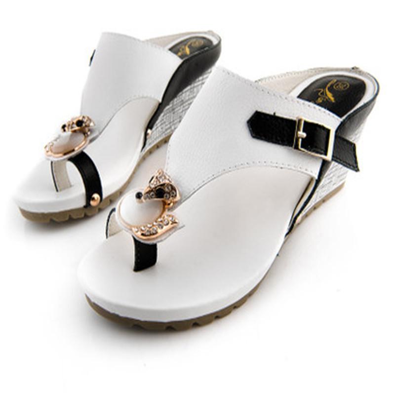 High Quality Fashion Rhinestone Women Flip Flops Wedge Platform Sandals Sexy Women Slippers Beach Shoes Woman Big Size 35-41(China (Mainland))