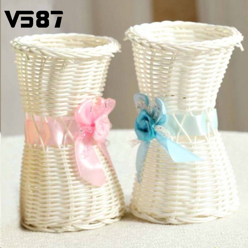 Plastic Artificial Rattan Flower Basket Roses Fruits Candy Storage Vase Garden Wedding Party Decoration Gift Square(China (Mainland))