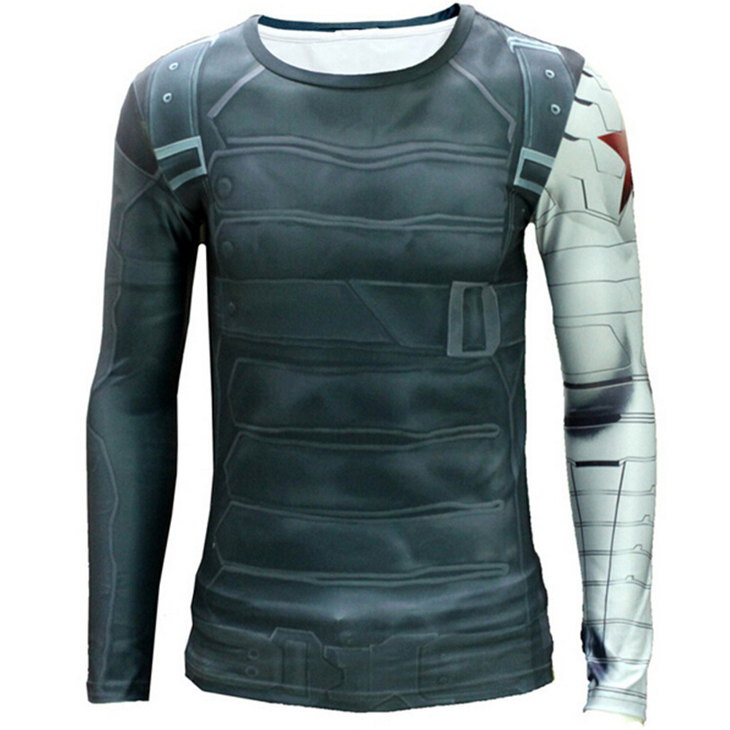 3D Winter Soldier Avengers 3 Compression Shirt Men Summer Long Sleeve Fitness Crossfit T Shirts Male Gym Clothing Tight Tops(China (Mainland))