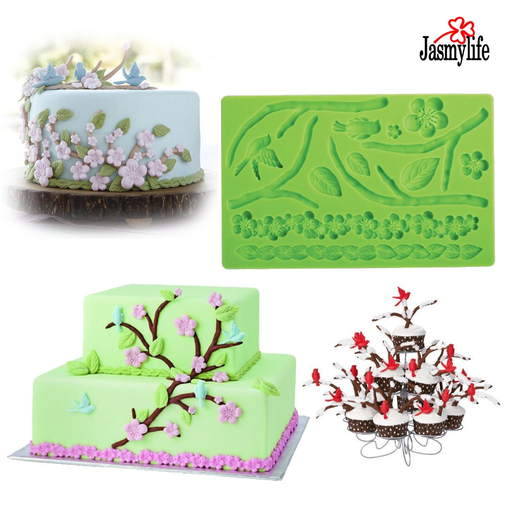 Cake Decor Group Cumbernauld : Moldes De Silicona Cocina Fondant 3D Mold Tree with Leaf Flowers Birds Shaped Cake Decorating ...