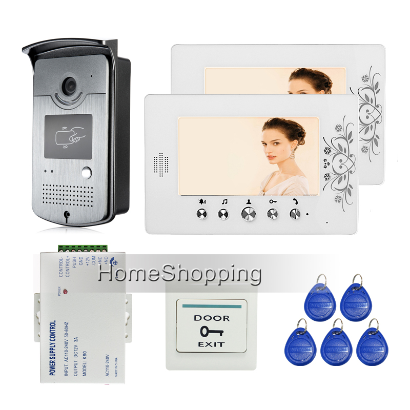 """Home Security New 7"""" Color Video Door Phone Intercom System + 2 Screen + Outdoor RFID Access Camera + Power Supply FREE SHIPPING(China (Mainland))"""