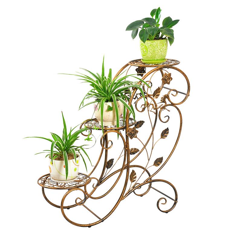 New version 3layer plants tray Garden room Decoration Iron Balcony Gazebo Planters Flower vantage Metal shelf Holder stand rack(China (Mainland))