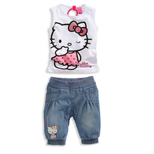 summer Girl's clothing sets Kids set children suit 100%cotton casual baby girl Cute set Kitty shirts+denim trousers/jeans(China (Mainland))