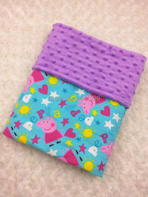 Младенцы одеяло фиолетовый minky dot одеяло комикс розовый свинья дополнительные мягкий minky одеяло младенцы пеленать коляска одеяло