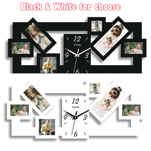 1 pcs bricolage cadre photo horloge et horloge murale design moderne et home decor horloge. Black Bedroom Furniture Sets. Home Design Ideas