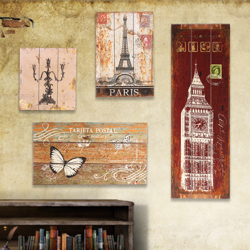 Vintage french country frameless decorative wood painting for Decorative mural painting