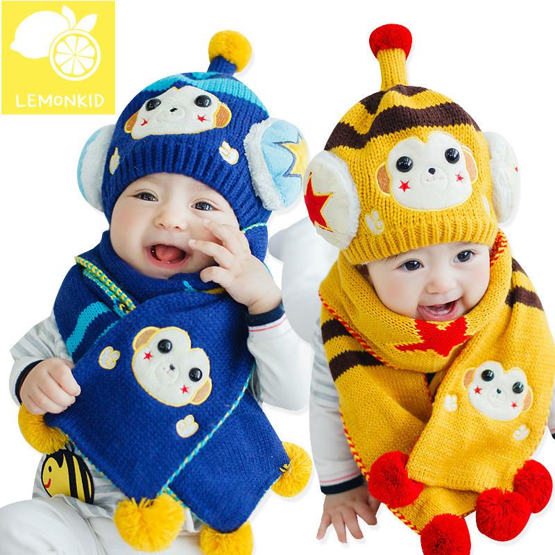 Korean style baby hat cute cartoon monkey woolen crochet hat kids winter hats warm baby scarf baby boy girl scarf hat set(China (Mainland))