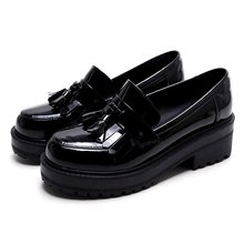ALLBITEFO fashion brand tassel flat platform full genuine leather women pumps round toe high heel shoes woman Sra zapato(China (Mainland))