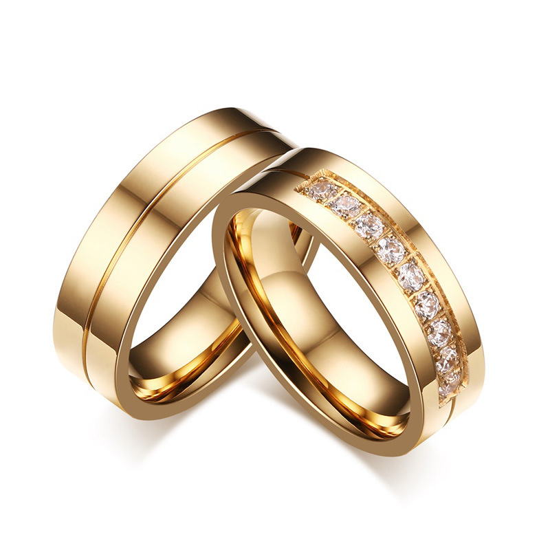 6MM Stainless Steel Wedding Ring For Lovers 18K IP Gold Plated Crystal CZ Couple Rings Set Men Women Engagement Wedding Rings(China (Mainland))