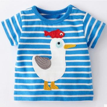 Duck Want To Have Fish 2015 Summer Boys Girls clothing Kids Short-sleeve T-shirt 100% Cotton Children Beachwear Free Shipping(China (Mainland))