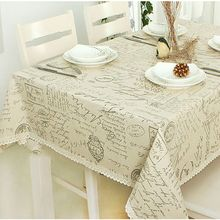 Hot Sale Europe Style Linen Cotton Table Cloth Rectangular Lace Edge Tablecloth Letter Printed Dustproof Table Covers JX-T010(China (Mainland))