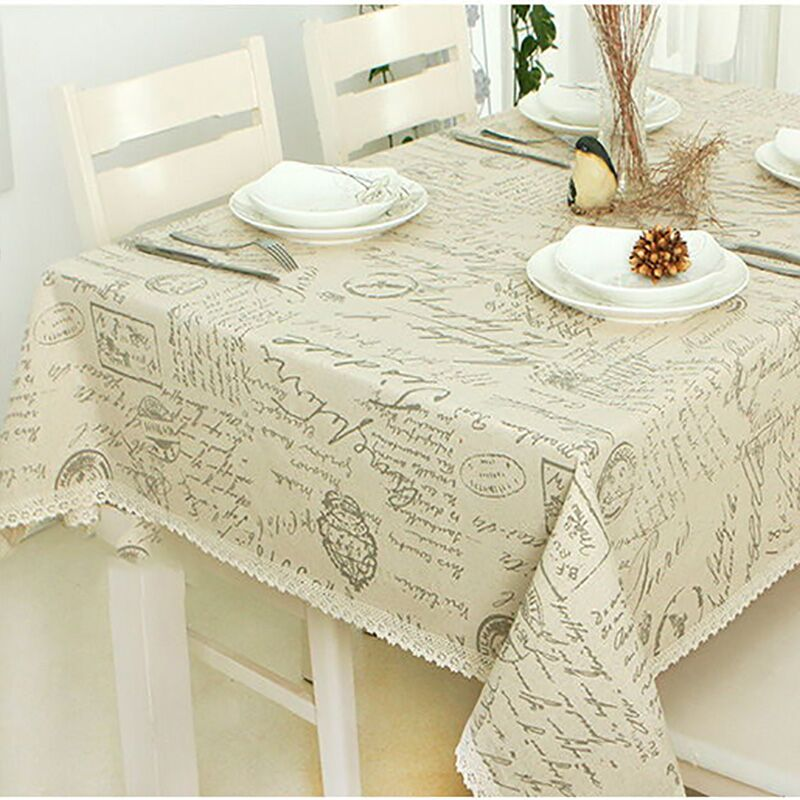 Hot Europe Style Linen Cotton Table Cloth Rectangular Lace Edge Tablecloth Letter Printed Dustproof Table Covers toalha de mesa(China (Mainland))